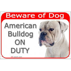 Portal Sign red 24 cm Beware of Dog, White American Bulldog on duty, portal placard door plate panel