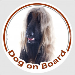 "Circle sticker ""Dog on board"" 15 cm, Red black mask Afghan Hound Head, decal adhesive car label"