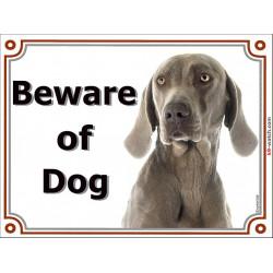 Portal Sign, 2 Sizes Beware of Dog, Weimaraner head, Door plate, placard portal panel Weim