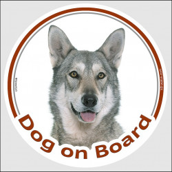 "Circle sticker ""Dog on board"" 15 cm, Saarloos Wolfdog Head, car label adhesive wolfhound"