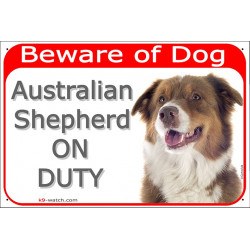 Portal Sign red 24 cm Beware of Dog, Red Tricolour Australian Shepherd on duty, gate door Aussie, Portal placard
