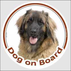 "Circle sticker ""Dog on board"" 15 cm, Leonberger Head, Decal label adhesive car Leo"