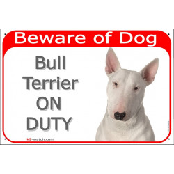 Portal Sign red 24 cm Beware of Dog, White English Bull Terrier on duty, portal placard, door plate panel