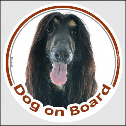 "Circle sticker ""Dog on board"" 15 cm, Black and Tan Afghan Hound Head, decal label adhesive car"