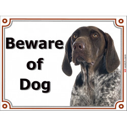Portal Sign, 2 Sizes Beware of Dog, German Shorthaired Pointer head, Door plate, portal placard, GSP panel Deutscher kurzhaarige