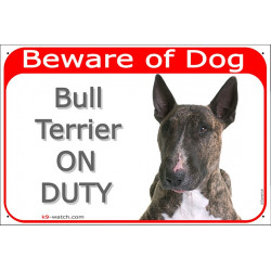 Portal Sign red 24 cm Beware of Dog, Brindle Bull Terrier on duty, portal placard, door plate EBT panel