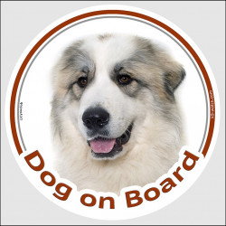 "Circle sticker ""Dog on board"" 15 cm, Great Pyrenees Head, decal adhesive label car Pyrenean Mountain Dog Patou"