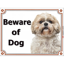 Portal Sign, 2 Sizes Beware of Dog, gold & white Shih Tzu head, portal placard, door plate, panel