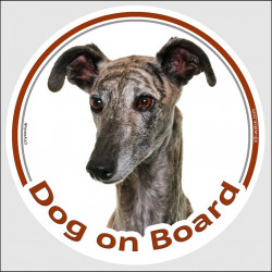 "Circle sticker ""Dog on board"" 15 cm, Spanish Galgo Head, decal adhesive car label"