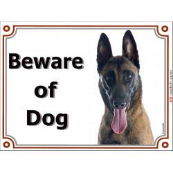 "Belgium Shepherd Malinois head, portal Sign ""Beware of Dog"" Door plate, gate panel, Portal placard Belgian photo notice"
