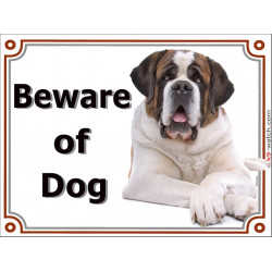 Portal Sign, 2 Sizes Beware of Dog, St. Bernard lying Bernhardshund Bernhardiner door plate portal placard
