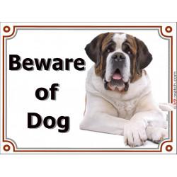 Portal Sign, 2 Sizes Beware of Dog, St. Bernard lying Bernhardshund Bernhardiner door plate portal placard