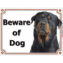 Portal Sign, 2 Sizes Beware of Dog, Rottweiler head, portal placard, door plate, panel gate
