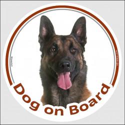 "Circle sticker ""Dog on board"" 15 cm, Belgium Shepherd Malinois Head, decal adhesive car label belgian dark"