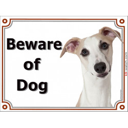 Portal Sign, 2 Sizes Beware of Dog, English Whippet head, door plate, portal placard panel gate snap