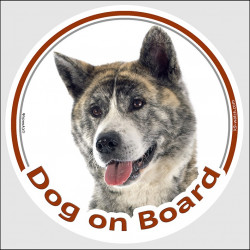 "Circle sticker ""Dog on board"" 15 cm, Brindle Japanese Akita Inu Head, decal adhesive car label"