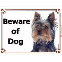 Portal Sign, 2 Sizes Beware of Dog, Yorkshire Terrier head, door plate, Gate panel, portal placard Yorkie