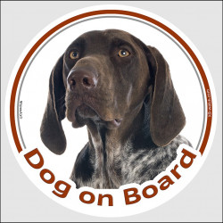 "Circle sticker ""Dog on board"" 15 cm, German Shorthaired Pointer Head, decal label adhesive car GSP"