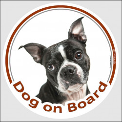 "Circle sticker ""Dog on board"" 15 cm, Boston Terrier Head, decal adhesive car label Bull Boxwood"