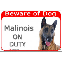Portal Sign red 24 cm Beware of Dog, Malinois Belgian Shepherd on duty, Door plate, portal placard, Gate panel Belgium herder me