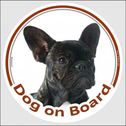 "Circle sticker ""Dog on board"" 15 cm, Brindle French Bulldog Head, decal car adhesive label frenchie bouledogue français"
