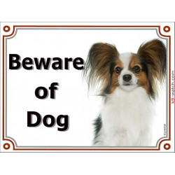 Portal Sign Beware of Dog, Continental Toy Spaniel Papillon head, door plate portal placard gate panel butterfly squirrel