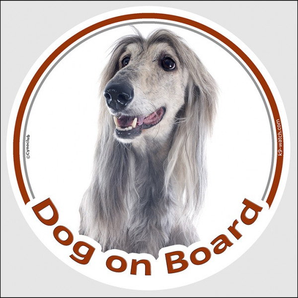 "Circle sticker ""Dog on board"" 15 cm, Silver Grey Afghan Hound Head, Decal adhesive label blue"