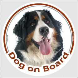 "Circle sticker ""Dog on board"" 15 cm, Bernese Moutain Dog Head, Decal adhesive label car Berner Sennenhund"
