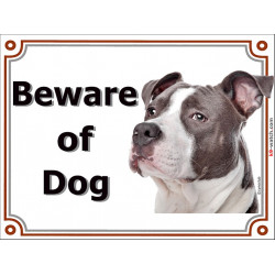 Portal Sign, 2 Sizes Beware of Dog, Grey Blue Amstaff head, Door plate American Staffordshire Terrier, portal placard Gate panel