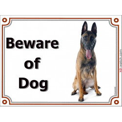 Portal Sign, 2 Sizes Beware of Dog, Belgium Shepherd Malinois Seated, portal placard door plate gate panel