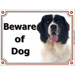 Portal Sign, 2 Sizes Beware of Dog, Landseer head, portal placard, door plate, gate panel