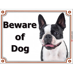 Portal Sign, 2 Sizes Beware of Dog, Boston Terrier head, portal placard, door plate, Gate Panel