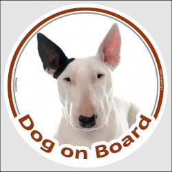 "Circle sticker ""Dog on board"" 15 cm, White, black ear English Bull Terrier Head, portal placard, door plate, gate panel British"