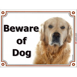 Portal Sign, 2 Sizes Beware of Dog, Golden Retriever head, portal placard, door plate, gate panel Retriver