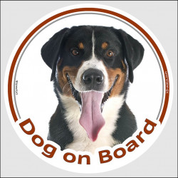 "Circle sticker ""Dog on board"" 15 cm, Swiss Mountain dog Head, decal adhesive car label Sennenhund"