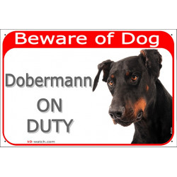 Portal Sign red 24 cm Beware of Dog, Dobermann on duty, door panel, portal placard, Gate plate