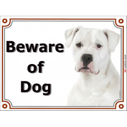 Portal Sign, 2 Sizes Beware of Dog, Dogo Argentino head, door plate, portal placard, gate panel