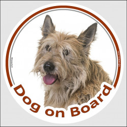 "Circle sticker ""Dog on board"" 15 cm, Berger Picard Head, decal adhesive label car picardy shepherd sheepdog"