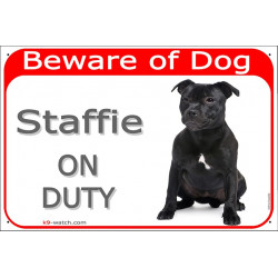Portal Sign red 24 cm Beware of Dog, Black Staffie on duty, portal placard Staffordshire Bull Terrier door plate gate panel