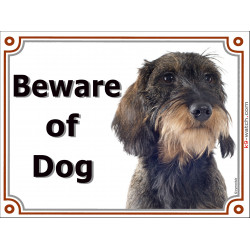 Portal Sign, 2 Sizes Beware of Dog, wild-boar wirehaired Dachshund head, portal placard, door plate, gate panel Dackel Doxie