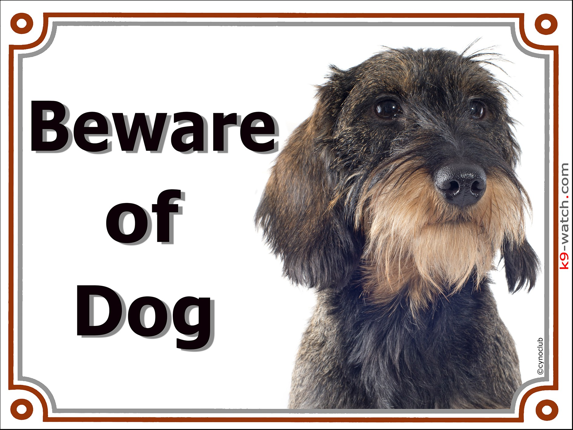 wild-boar wirehaired Dachshund head, Gate Sign Beware of Dog plaque placard  panel