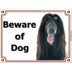 Portal Sign, 2 Sizes Beware of Dog, Black and Tan Afghan Hound head, portal placard, Gate plate, Door panel Persian Greyhound,