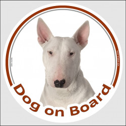 "Circle sticker ""Dog on board"" 15 cm, White English Bull Terrier Head, decal adhesive car label"