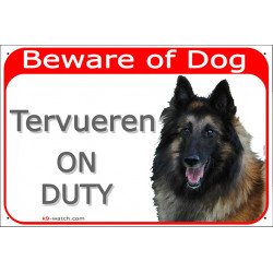 Portal Sign red 24 cm Beware of Dog, Belgium Shepherd Tervueren on duty, portal placard Belgian Sheepdog door plate gate panel