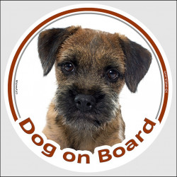 "Circle sticker ""Dog on board"" 15 cm, Border Terrier Head, decal adhesive car label"
