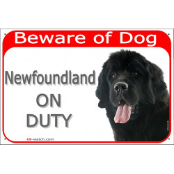 Portal Sign red 24 cm Beware of Dog, Newfoundland on duty, Door plate, portal placard, gate panel newf, newfie