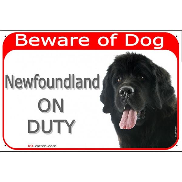 Portal Sign red 24 cm Beware of Dog, Newfoundland on duty, Door plate, portal placard, gate panel newf, newfie