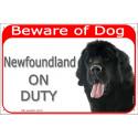 "Red portal Sign ""Beware of Dog, Newfoundland on duty"" 24 cm"