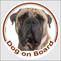 "Circle sticker ""Dog on board"" 15 cm, light fawn Bullmastiff Head, decal adhesive car label red"
