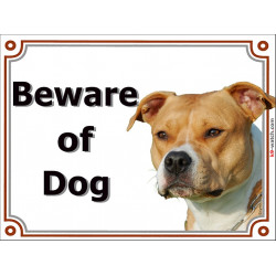 Portal Sign, 2 Sizes Beware of Dog, Fawn orange Amstaff head, portal placard, gate plate, door panel red
